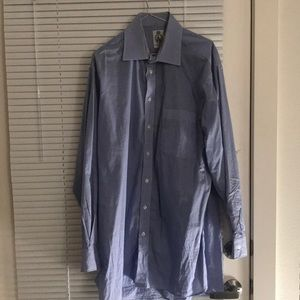 Blue check tattersall shirt, made in England